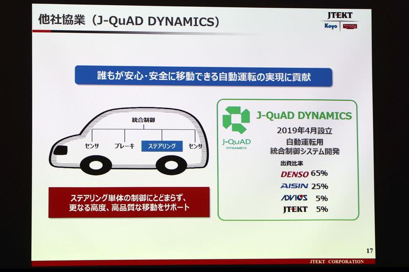 2019年4月に設立されたJ-QuAD DYNAMICSにはジェイテクトも出資している
