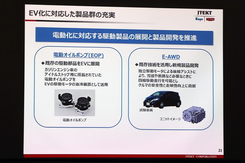既存の製品や技術をEVに応用する事例として紹介された電動ポンプとE-AWD