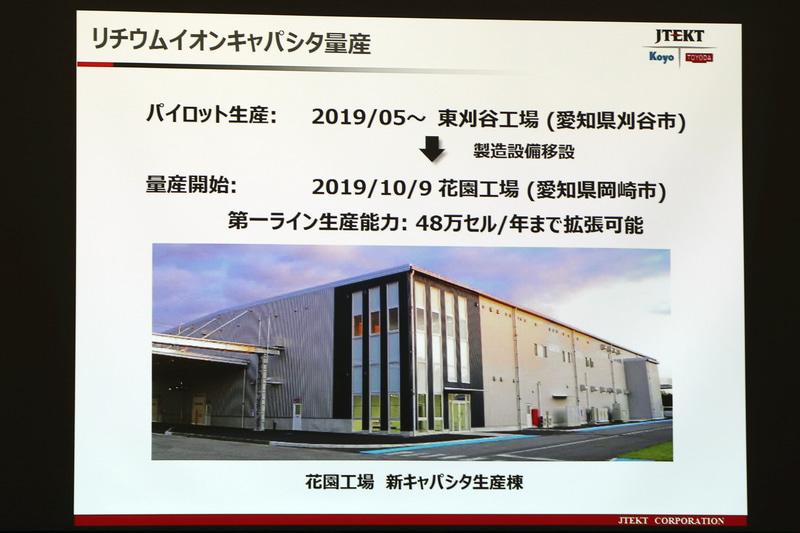 リチウムイオンキャパシタの量産に向けて、花岡工場内に新キャパシタ生産棟が新設された
