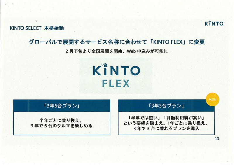 KINTO FLEXに3年3台プランを用意