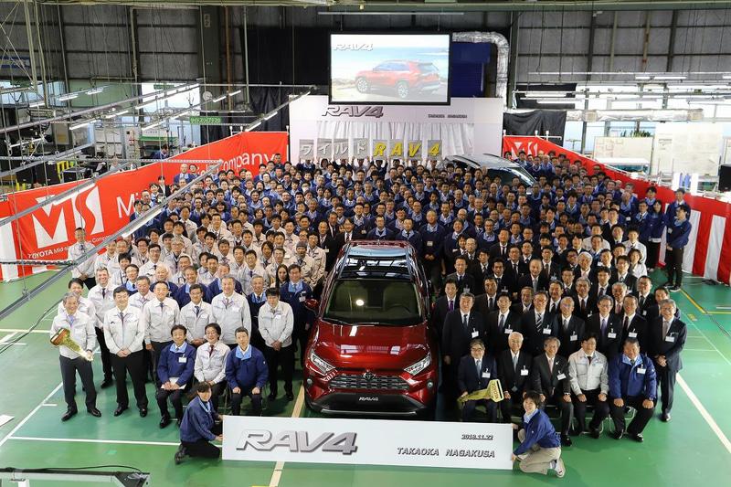 2018年11月22日に開催された愛知県大府市の長草工場で生産開始した新型「RAV4」のラインオフ式