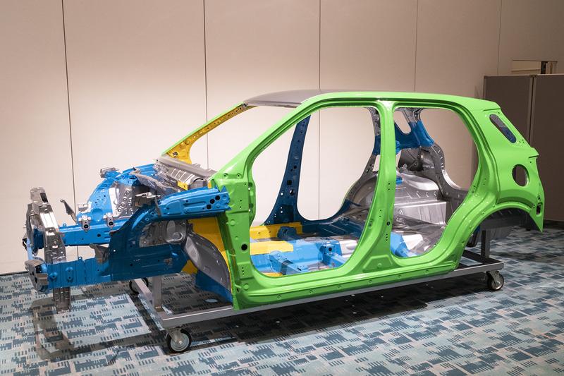 ボディシェル。緑色の部分が390MPaの高張力鋼板、青色の部分が440MPa/590MPaの高張力鋼板、黄色の部分が980MPaの超高張力鋼板