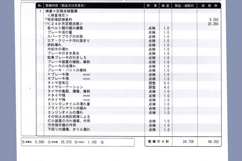 ホンダカーズ東京中央で作ってもらったN-VAN +STYLE FUNの初回車検の費用見積もり。参考にしたかったので、オプション的なものをすべて入れてもらっている。実際の車検時は必要な項目を選んで実施してもらうことになるだろう