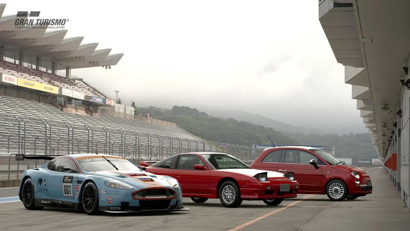「グランツーリスモSPORT」2月アップデートで追加された「アストンマーティン DBR9 GT1 '10(Gr.3)」(左)、「日産 180SX Type X '96(N200)」(中央)、「フィアット 500 1.2 8V Lounge SS '08(N100)」(右)