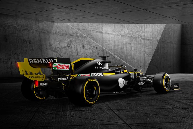 ブラックとイエローを基調としたルノーの新型F1マシン「R.S.20」。フロントとリアのウイングにDP WORLDのロゴが描かれている
