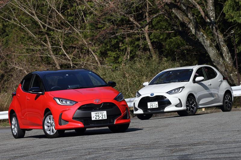 今回試乗したのは2月10日に販売を開始したトヨタ自動車「ヤリス」。ブラック×コーラルクリスタルシャインが2WD(FF)の「G」(175万6000円)、ホワイトパールクリスタルシャインが2WDの「HYBRID Z」(229万5000円)。2WD車のボディサイズは3940×1695×1500mm(全長×全幅×全高。4WD車の全高は1515mm)で、ホイールベースは2550mm