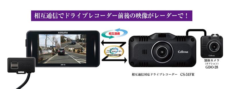 ケーブル接続することで相互連携可能なドライブレコーダー「CS-F51R」。後方用カメラ「GDO-28」を組み合わせれば前後撮影も可能