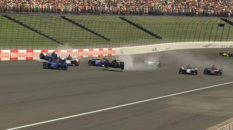 レース序盤でのクラッシュシーン、一番外側の壁近くにいる青い車両が佐藤琢磨選手の車両