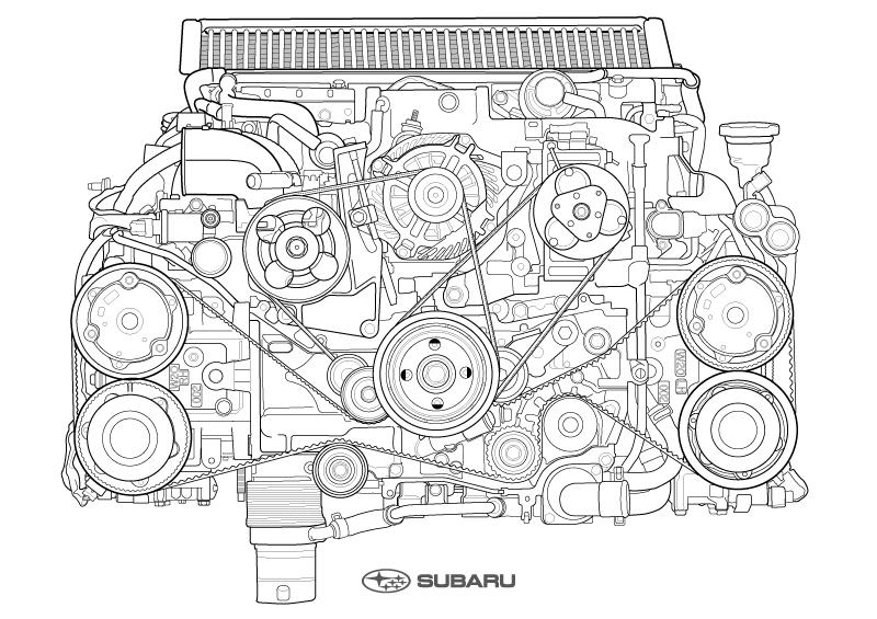 スバルの「EJ20」型エンジンが塗り絵になった。なぜ、エンジンを塗り絵に……