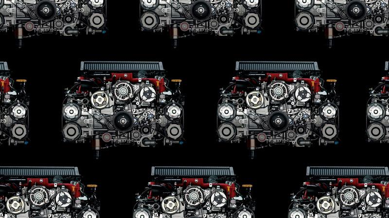 EJ20型エンジンがずらりと並び、なかなかにインパクトのある画像も同時公開された