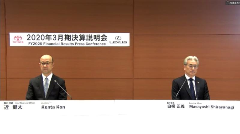 2020年3月期(2019年4月~2020年3月)の決算内容発表会に出席した執行役員 近健太氏(左)と執行役員 白柳正義氏(右)