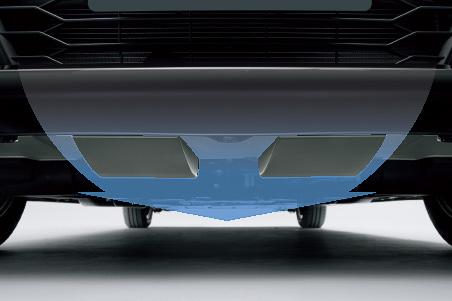 フロントエアロバンパー下面に設定される箱型の「エアロスロープ」。車体下中央に速い空気の流れを生み、風のレールを走っているような安定感のある走りを実現