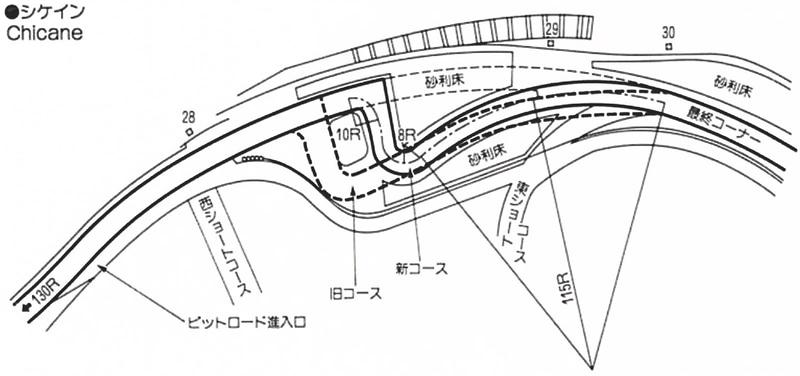 1991年:シケインを最終コーナー側に30m移動。ピットロード入口を130R側に70m移動