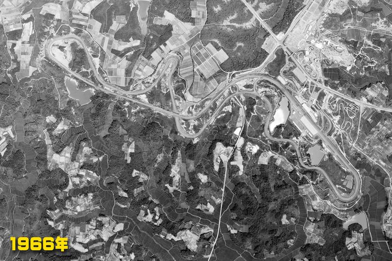 """1966年:遊園地とサーキット道路ができている(<a href=""""https://mapps.gsi.go.jp/"""" class=""""n"""" target=""""_blank"""">国土地理院の空中写真閲覧サービス</a>を加工して掲載)"""