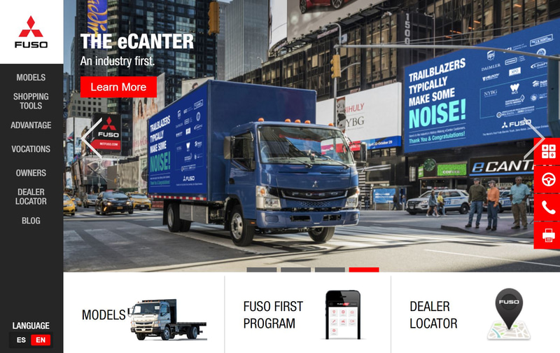 Mitsubishi Fuso Truck of AmericaのWebサイト