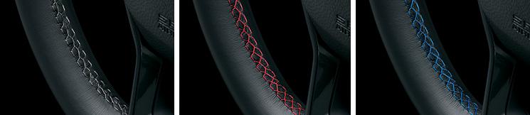 プレミアムクリスタルブルー・メタリック、プレミアムクリスタルレッド・メタリックはエクステリアカラーに合わせたステッチカラーを設定