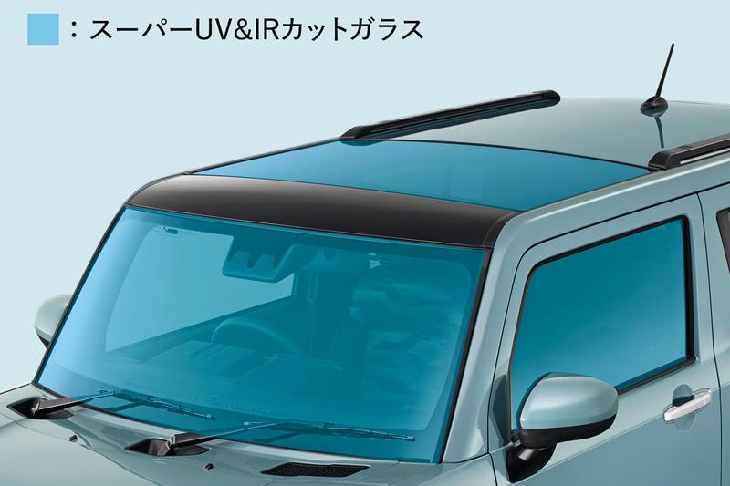 ガラスルーフ「スカイフィールトップ」を全車標準装備。「スーパーUV&IRカットガラス」も採用