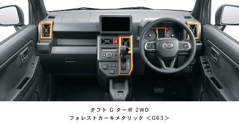 タフト G ターボのインパネまわり。ドライバーが操作しやすいようスイッチ類がレイアウトされている。形状は全車同じで加飾パーツなどに違いがある