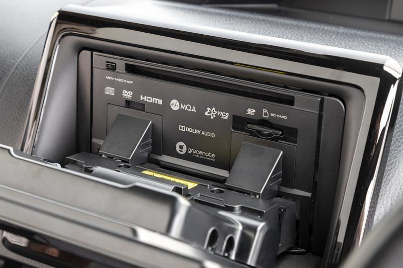 モニターを手前側に倒すことでCD/DVDスロット、SDカードスロットにアクセスできる