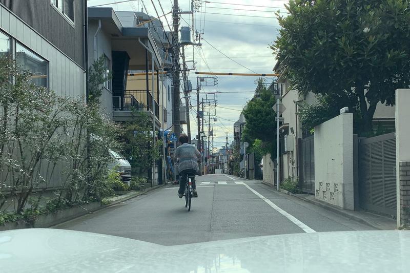 狭い道路での自転車。この方はクルマの気配を感じて左側に寄って走ってくれたが、追い越すときは気を遣う。この後、フラフラしている別の自転車がいて、注意してユックリ追い越したら、スマホを見ながらの片手運転だった。クワバラクワバラ……