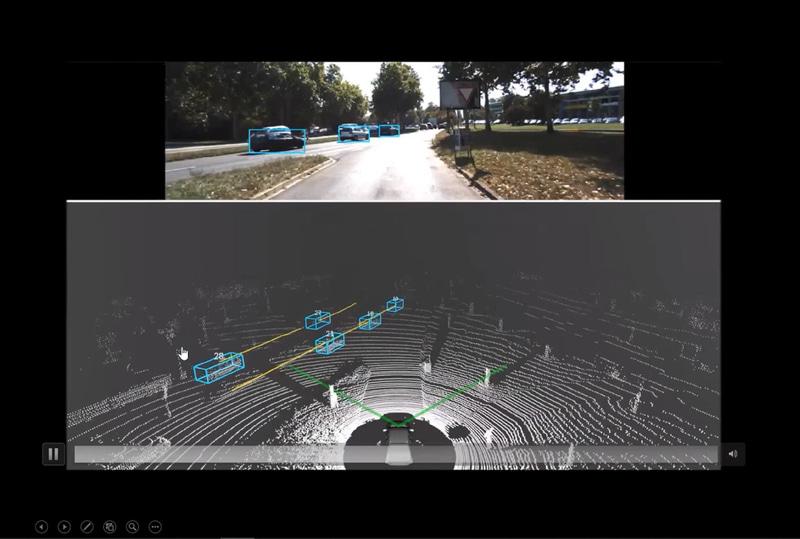 上のカメラ映像では左斜め前の車両の奥にいる車両は見えづらいが、下のLiDARはしっかりと捉えている