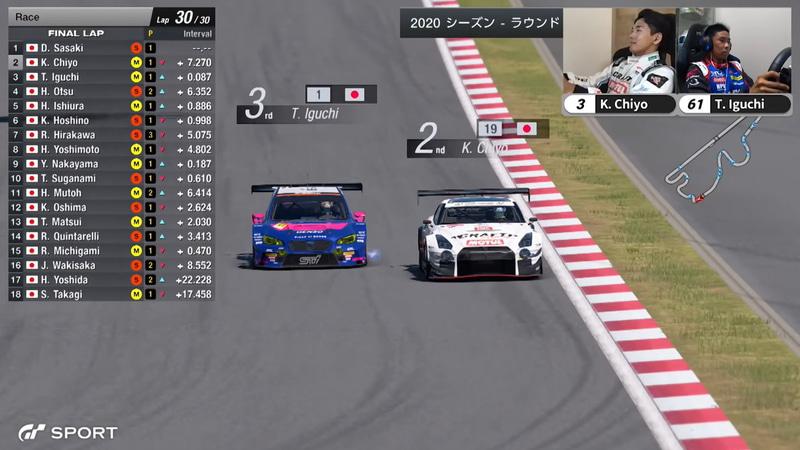 61号車「WRX Gr.3」井口卓人選手と3号車「GT-R ニスモ GT3」の千代勝正選手が最終ラップで2位を争ったものの、千代選手はガス欠でスローダウン