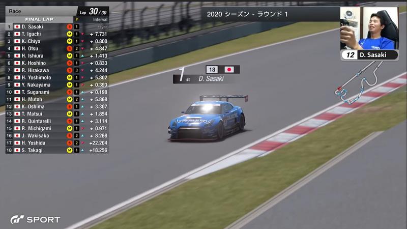 最終ラップを走行する12号車「GT-R ニスモ GT3」の佐々木大樹選手