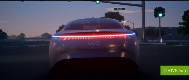 NVIDIAのドライブシミュレータ内を走るバーチャルモデルの「VISION EQS」も紹介された。とてもシミュレータ映像には見えないが