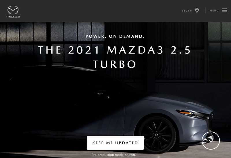 マツダUSAの公式Webサイトで2.5リッターターボモデルの「MAZDA3」登場を予告