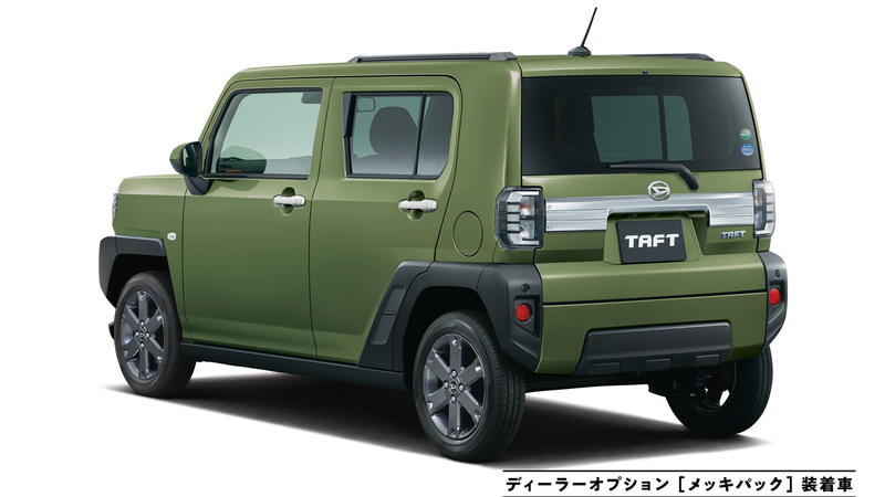 タフト Gターボ(フォレストカーキメタリック)ディーラーオプション「メッキパック」装着車