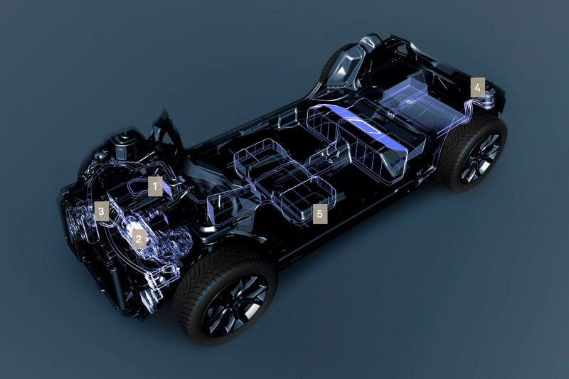 1:7kW車載充電器(オプション:11kW充電器)、2:100kW(136HP)電動モーター、3:高性能ヒートポンプ、4:充電ソケット:自宅充電は7時間30分で100%充電完了(7kW普通充電器)/急速充電は50分で最大80%充電可能(50kW急速充電器)、5:50kWhリチウムイオン電池。航続距離307~331km