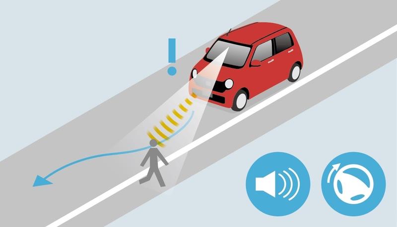 歩行者に配慮。歩行者事故低減ステアリング