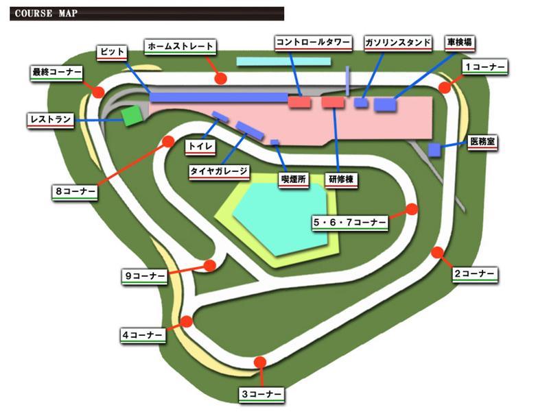 袖ヶ浦フォレストレースウェイのコースマップ。1コーナーから4コーナーにかけて下ってゆく感じ