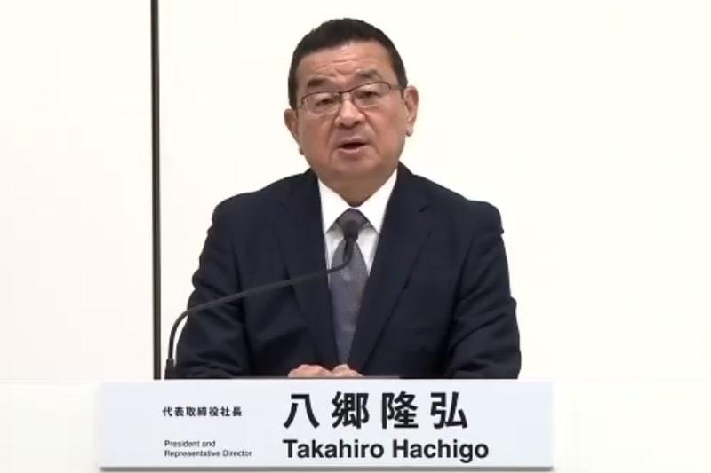 記者会見を行なう本田技研工業株式会社 代表取締役社長 八郷隆弘氏