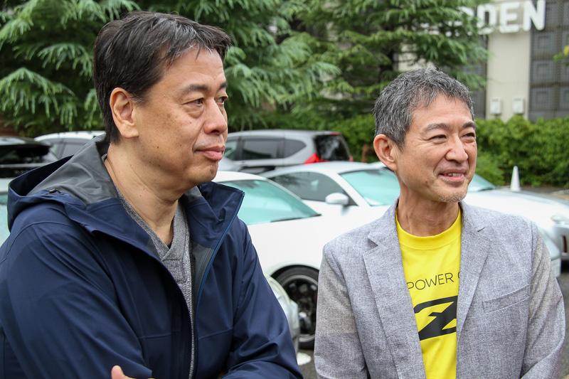 囲み取材に応じていただいた内田社長(左)と田村氏(右)。「手に届くような形で出せればいいなと思っています」とのこと、プライスにも注目したい