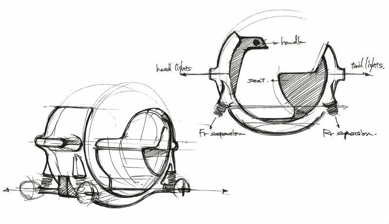 """このデザイン案では、乗り手となる高齢者への優しさと、歩道で共存する歩行者への優しさを表現するために""""球""""という1つの塊から展開していくアプローチでデザインを開始したという"""