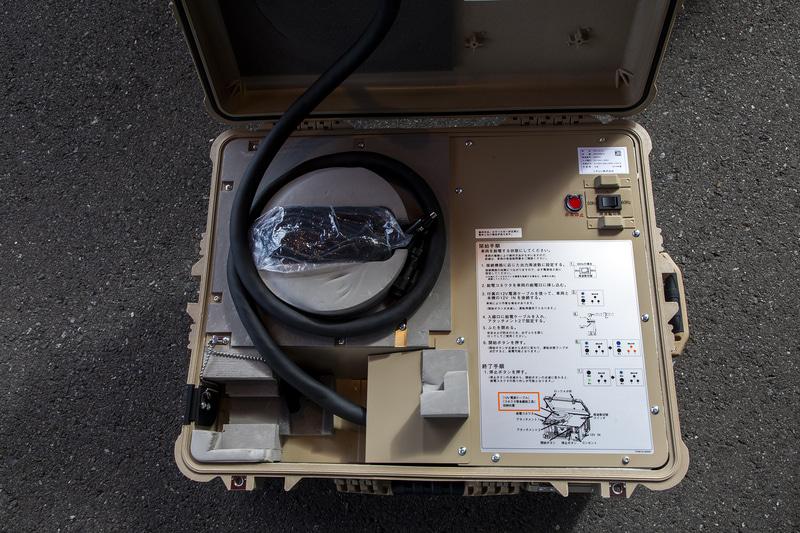 災害による停電発生時には、リーフを電源とした電力サポートが行なえるような装備も揃えている