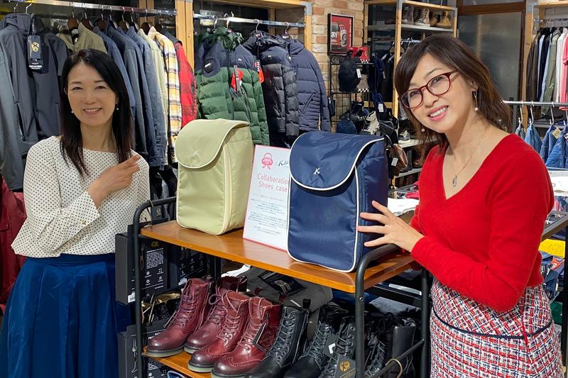 11月3日、キタムラと#置きシューがコラボして生まれたシューズケースがついに発売となり、吉田由美さんと一緒にモトーリモーダ銀座店へ駆けつけてきました! オシャレなアパレルがたくさん並ぶ中、こんなに素敵にディスプレイしていただいて、感激です! シューズケースはダークブルーとベージュの2色があり、価格は1万3000円。クルマのヘッドレストに引っ掛けたり、旅行スーツケースにつなげても持ち歩きやすくなっているので、奥様やお母様、彼女へのプレゼントにもぜひ