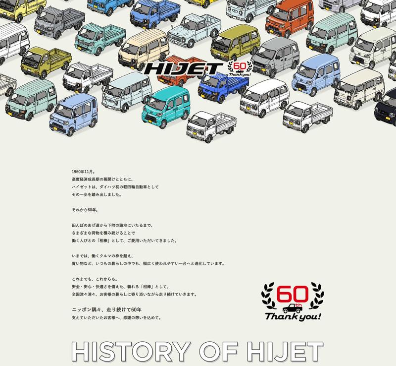 ハイゼットの誕生60周年記念サイトが公開されている