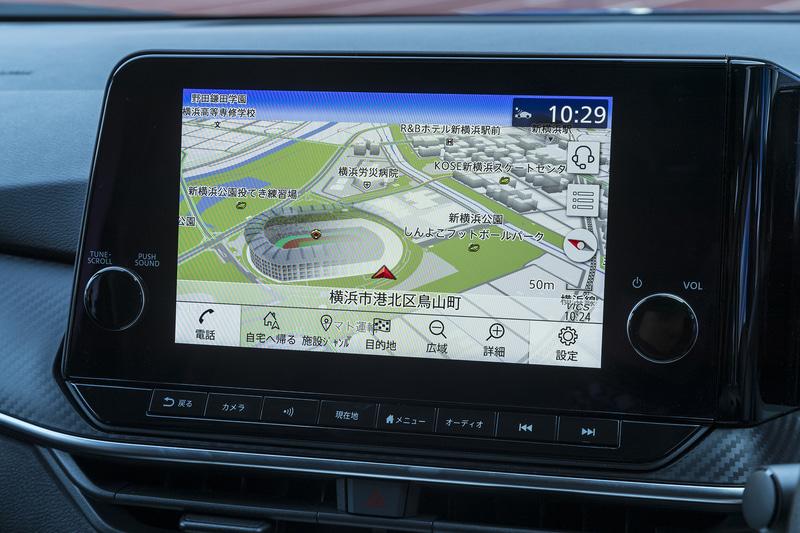 メーカーオプションとなる「NissanConnectナビゲーションシステム」。9インチのディスプレイを採用し、プロパイロット(ナビリンク機能付)も実現