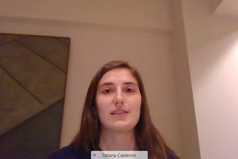 タチアナ・カルデロン選手、会見はオンラインで行なわれた