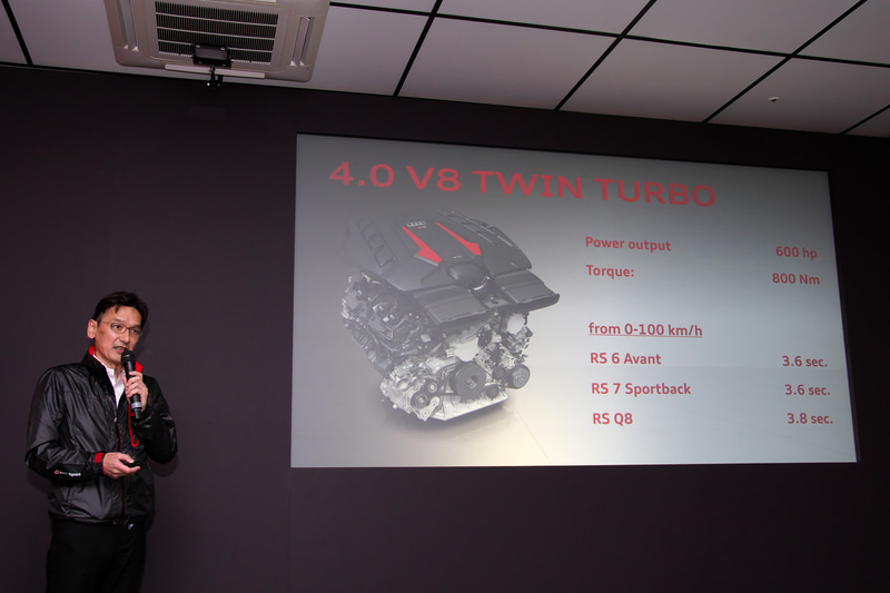 600PSのパワートレーンについて紹介する広報部長 丸田靖生氏