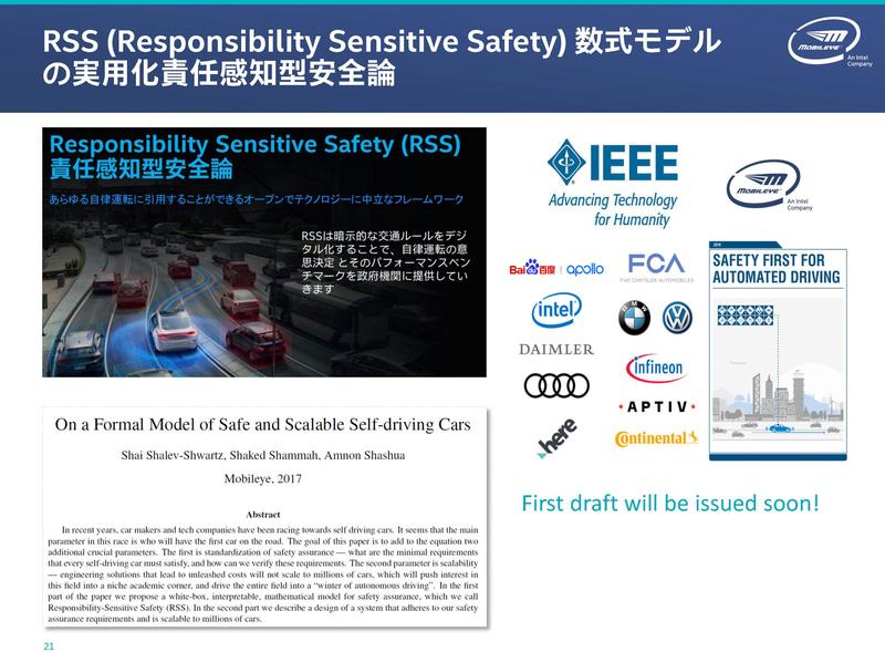RSS(Responsibility Sensitive Safety、アールエスエス、責任感知型安全論)のIEEEへの提案と標準化プロセス