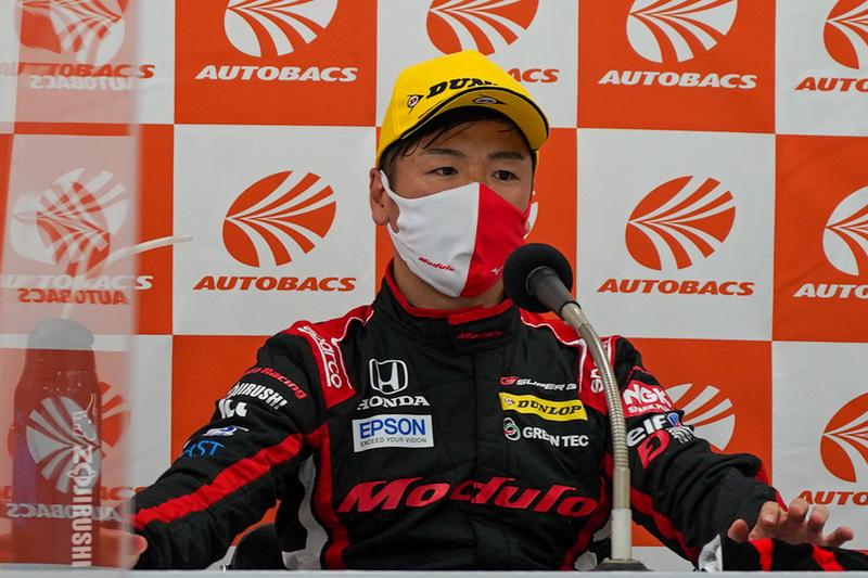 SUPER GT 第3戦で64号車 Modulo NSX-GTがポールポジションを獲った時の会見での大津弘樹選手