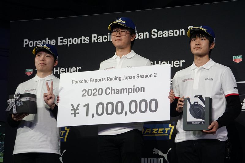 決勝レースの表彰台。左から2位の宮園拓真選手、優勝の山中智瑛選手、3位の鍋谷奏輝選手