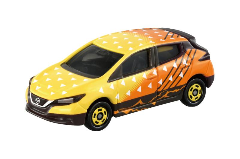 「鬼滅の刃トミカ vol.1 03 我妻 善逸」車両本体:「日産 リーフ」雷の呼吸の使い手である我妻 善逸をイメージし、電気自動車をセレクト。鱗文と黄色と橙色のグラデーションで善逸の羽織を表現し、サイドには走る稲妻のような紋様が描かれている。リアに「滅」の文字