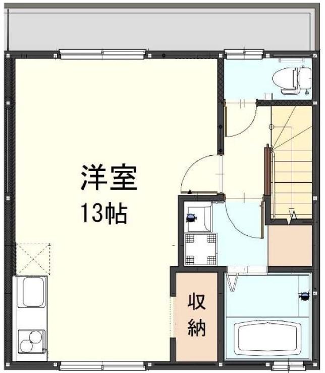 1階2台止めタイプの間取りイメージ。左が1階のガレージ部分、右が2階の居室部分