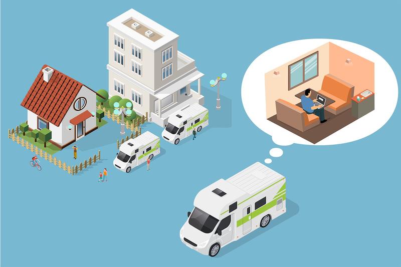 マンションやアパートだけでなく、一軒家の駐車場にキャンピングカーをモバイル・オフィスとして駐車すれば、書斎として利活用することも可能としている