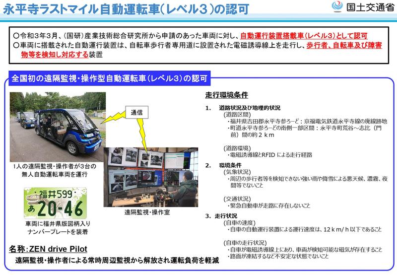 永平寺ラストマイル自動運転車(レベル3)の認可について説明資料