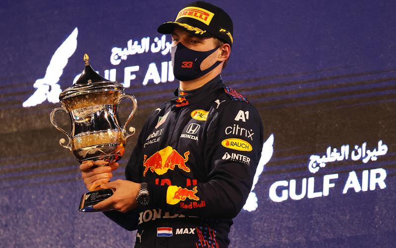 表彰台に立つマックス・フェルスタッペン選手(C)Getty Images / Red Bull Content Pool